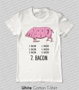 pig meat cuts all bacon t-shirt white